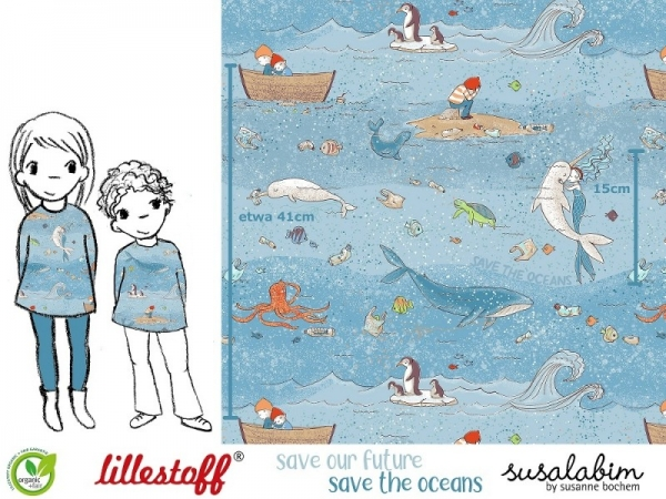 BIO Jersey Save the Oceans, Susalabim, lillestoff